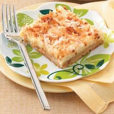 Coconut-Lemon Cheesecake Dessert Recipe -This refreshing dessert was a hit when I brought it to our ladies fellowship meeting at church. Everyone loved the buttery coconut crust, lemony filling and sour cream topping.—Leslie Dickson, Buffalo, WY
