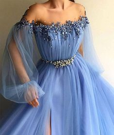 Blue round neck tulle lace applique long prom dress, blue evening dress