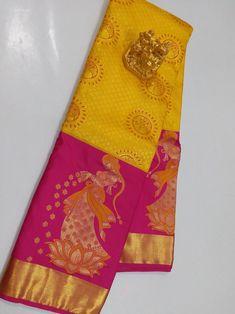 Pure Kanchipuram Yellow with Pink Silk Wedding / Bridal Sarees Rekha Saree, Lehanga Saree, Kanjivaram Sarees Silk, Raw Silk Saree, Wedding Silk Saree, Soft Silk Sarees, Chiffon Saree, Lehenga, Bridal Sarees