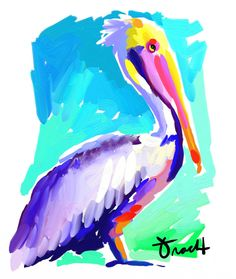 Vintage Style Art Print 16x20 Pelican by Kelly Tracht, Lilly Pulitzer Style Painting Palm Beach Regency