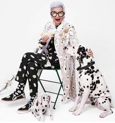 Iris Apfel!!!  Match your outfit to your pets! (it would hide the dog hair, lol)