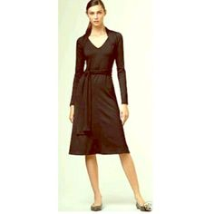 Black Long Sleeve Wool Midi Dress NWOT, two lengths of fabric attached at neck to wrap around multiple ways. Photos are for clear reference only, BLACK dress for sale only. Petite size, fits size petite 2 or 4 very well. Talbots Dresses Midi