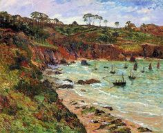 Maxime Maufra (1861-1918) French Impressionist Painter -  Fishing for sprats in winter at Douarnenez