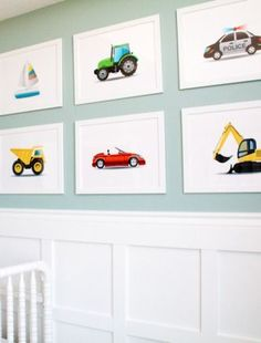 Have a car-crazed little one at home? Decorate his room with all things transportation with some car-themed art your son is sure to love.