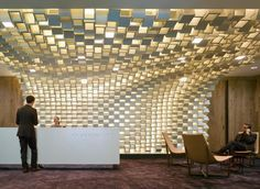 Reception Desk design with beautiful organic ceiling