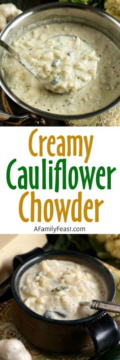 Creamy Cauliflower Chowder - This is pure, delicious comfort food! It's  also a hearty, filling option for anyone on a #lowcarb or #keto diet.