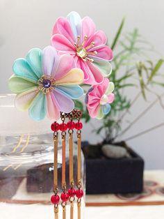 Kanzashi japanese hair pin bira kanzashi silk by Keikonoheya