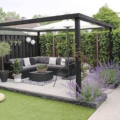 Amazing Modern Pergola Patio Ideas for Minimalist House. Many good homes of classical, modern, and minimalist designs add a modern pergola patio or canopy to beautify the home. In addition to the installa. Backyard Patio Designs, Small Backyard Landscaping, Pergola Patio, Modern Pergola, Diy Patio, Pergola Ideas, Backyard Ideas, Garden Decking Ideas, Pergola Kits