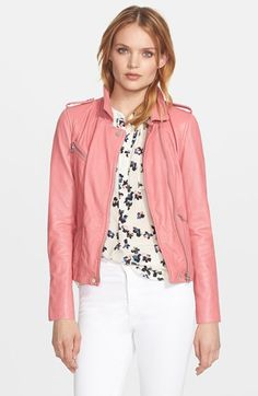 Rebecca Taylor Washed Leather Moto Jacket available at #Nordstrom