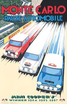 'Mini Cooper S – Monte Carlo Rallye' - Vintage car poster .