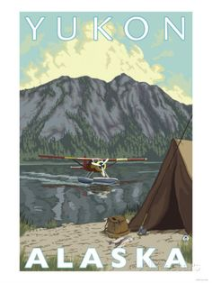 Bush Plane & Fishing, Yukon, Alaska Poster von Lantern Press bei AllPosters.de