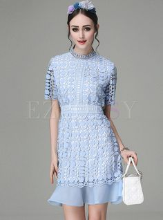 Sexy Pure Color Lace Hollow-out Mermaid Sheath Skater Dress  | Ezpopsy.com