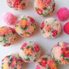 Diy Crafts - pompoms-Currently obsessing over floral pom poms. 💗 I'll be posting a tutorial this week but in the meantime, what should I make with th Diy Craft Projects, Diy And Crafts Sewing, Craft Tutorials, Yarn Crafts, Crafts To Sell, Fabric Crafts, Sewing Projects, Crafts For Kids, Crafts With Wool