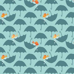 on a rainy day, the fish will play fabric by lbishop on Spoonflower - custom fabric