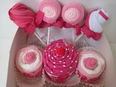 Baby Girl Gift Set-Onesies,Blanket Cupcake, Washcloth Cupcakes and Lollipops, Bib Roses.