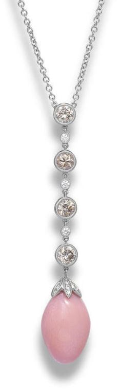 A conch pearl and diamond pendant necklace  Suspending a conch pearl, to a brilliant-cut diamond cap and a line of brilliant-cut collet-set diamonds of brown hue, spaced by similarly-cut collet-set colourless diamonds, to a trace-link chain, mounted in 18k white gold, the diamonds estimated to weigh approximately 1.75 carats in total, necklace length 41.2cm, pendant length 6.0cm