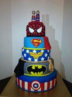 Superheroes cake. Mal would LOVE IT!