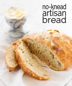 Easy recipe for no knead artisan bread | www.ifyougiveablondeakitchen.com