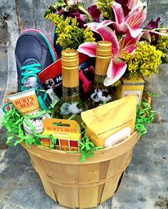 Great Gift Basket For The Runner In Your Life Work Together With Flowers At Will