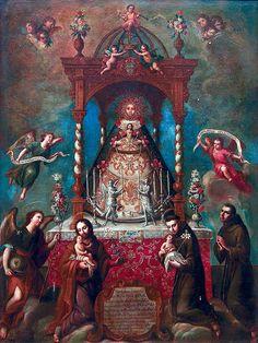 Ntra. Sra. del Rosario de Cádiz con San Rafael Arcángel, San José, San Antonio de Padua y San Pascual Bailón, Miguel Cabrera.   da Tach Jrez. Hra.