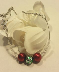 Red and green necklace by SnoBirdBeads on Etsy