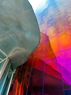 when new york city-based photographer andrew prokos looks at frank gehry's architecture he sees the singular parts as well as the whole. he recently deconstructed the canadian architect's EMP museum in seattle (also known as the experience music project a Frank Gehry, Facade Architecture, Amazing Architecture, Contemporary Architecture, Dynamic Architecture, Seattle Architecture, Chinese Architecture, Futuristic Architecture, Colourful Buildings