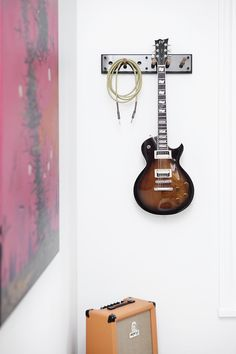 Living room - Moodboard 1X6 fumed oak with guitar hanger