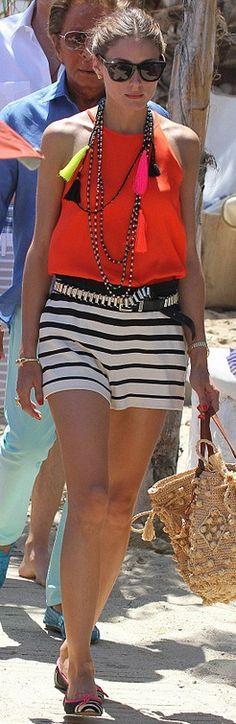Olivia Palermo: Purse – Gerard Darel Watch – Rolex Shoes – Pretty Ballerinas Shirt and shorts – Tibi Sunglasses – Westward Leaning Estilo Olivia Palermo, Short Outfits, Summer Outfits, Tan Handbags, Pretty Ballerinas, Mode Chic, Mira Duma, Striped Shorts, Star Fashion