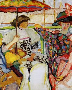 """Alfred Lombard (French, 1884-1973)   """"Martha and Pauline at the terrace"""""""