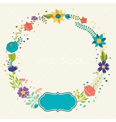 Romantic background of various flowers in retro vector  - by incomible on VectorStock®