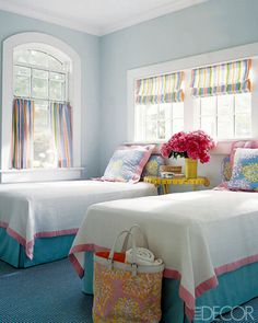 white bedspread and colorful bed skirt... such a neat idea! I love my all white bedding, but this color pop would be fabulous!