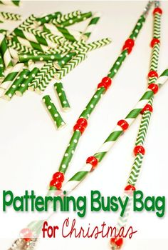 This patterning busy bag for Christmas will keep your little one busy while they build fine-motor skills and learn vital math skills! Suggestions for using with toddlers, preschoolers and kindergarteners make this a great pack to make for multiple childre