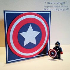 A Captain America shield Birthday card for my 7 year old using Night of Navy, Real Red & Brushed Silver cardstock & Circle Collection Framelits - made by Denita Wright Independent Stampin' Up! Demonstrator Australia https://www.facebook.com/denitawright.stampinup.net?ref=bookmarks