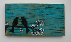 Barnwood Art  I wouldn't do the birds for our lake house, but the blue wash, yes... with a different silhouette on top.