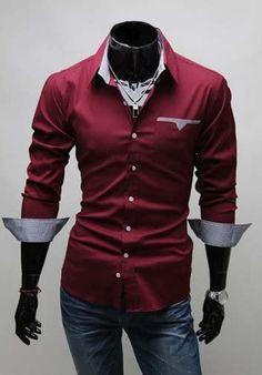 b4fc5b9fec  20.99 Mens Fashion Long Sleeve Casual Business Slim Fit LUXURY Formal  Dress - http