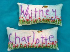 Freehand Embroidered Name MINI Pillow Made To Order by YelliKelli
