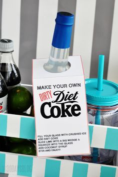 dirty diet coke printable tag - give the gift of diet coke!