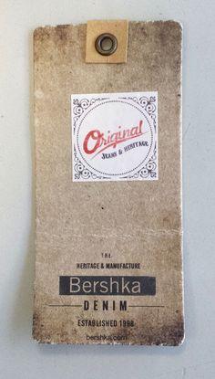 Bershka denim #hangtag Tag Design, Label Design, Branding Tools, Swing Tags, Clothing Labels, Printing Labels, Fashion Labels, Denim Branding, Paperchase