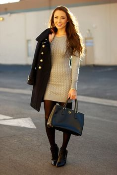 fcc17d3bfe5f0 Image Trendy Winter Outfit Ideas with BootsImage viaA cream sweater dress  with a military coat and tights for fall.