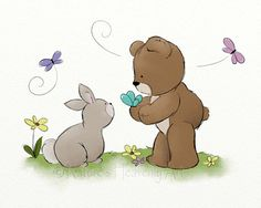 Bunny Rabbit and Teddy Bear Childrens Art Print,