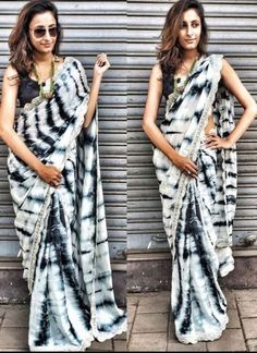 White Black Patch Border Lace Sibori Print Moss Silk Velvet Designer Sarees #Wedding #Bridal #designer #Saree http://www.angelnx.com/Sarees