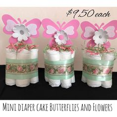 DiaperCakes Flowers and butterflies, diapers, Baby shower, Mini Diaper Cake, New Mom Gift, baby girl, Centerpiece, Baby Shower Centerpiece, by PathysDesign on Etsy