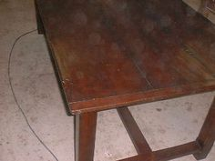 I made this and added patina to the wood grain to create an aged look. Old styled dining table.