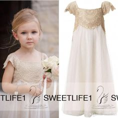 Simply precious and picture perfect  classic so beautifully structured it bring's one's mind back to delicate Elizabeathen period. Cap Sleeves Vintage Flower Girls Dresses Empire Waist Champagne Lace And Ivory perfect for First Communion as well