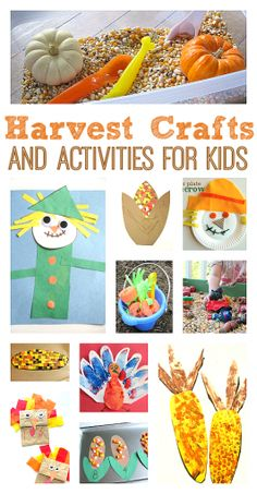 TONS of wonderful craft ideas for kids, organized by season and holiday. So good! Harvest Crafts Kids, Harvest Activities, Fall Crafts For Kids, Autumn Activities, Autumn Crafts, Craft Activities For Kids, Kids Crafts, Educational Activities, Thanksgiving Preschool