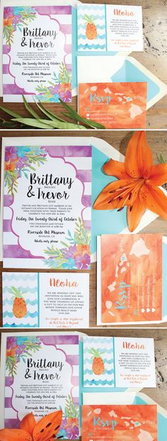 You will fall in love with these simple yet elegant Beach Destination Hawaiian wedding invitations with a tropical theme! Destination Wedding