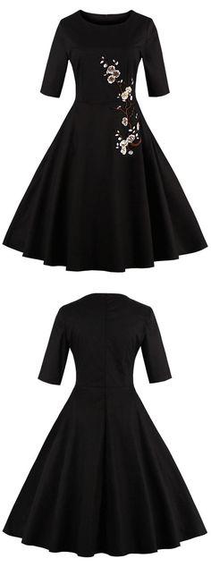 black short dress short vintage dress  vintage dress with sleeves