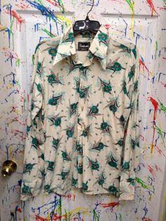 Mens Vintage long sleeve polyester pimp nylon disco shirt size Large 16 green flower motif 1970's by RagsAGoGo, $25.00