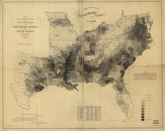 """The Map That Lincoln Used to See the Reach of Slavery.  """"Map showing the distribution of the slave population of the Suthern states of the United States. Compiled from the census of 1860. Drawn by E. Hergesheimer. Engr. by Th. Leonhardt."""" Library of Congress, American Memory Map Collections"""