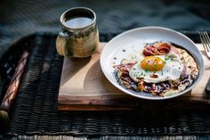 Goat Cheese Grits with Red Eye Gravy, Country Ham, and a Fried Egg